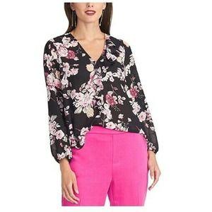 Rachel Roy Ruffled Floral Asymmetrical Blouse XS